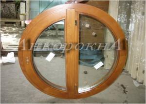круглое деревянное окно с двумя створками