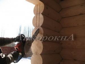 монтаж деревянной обсады для окна