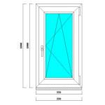 Одностворчатое ПВХ окно 1000х550 мм