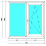 Двухстворчатое окно ПВХ 1200х1200