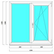 Двухстворчатое окно ПВХ 1200х1200 фото