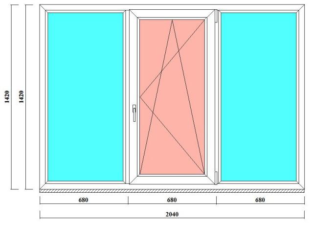 окно пвх трехстворчатое в 137 серию