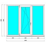 Пластиковое окно 1500 на 1800 мм, ПВХ профиль