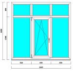 Трехстворчатое окно ПВХ 1600 на 1660 мм