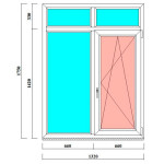 Двустворчатое ПВХ окно 1750х1320 мм