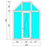Арочное окно-трапеция 2100*1500 мм