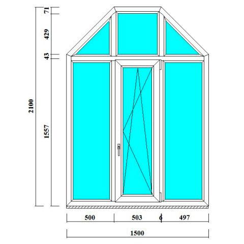 рочные окна-трапеции 2100 на 1500 мм в СПб