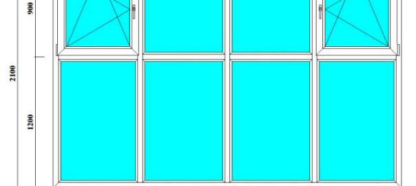 четырехстворчатые окна 2100 на 3200 мм на лоджию