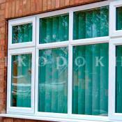 четырехстворчатое пвх окно с форточками размером  2100*3200 мм