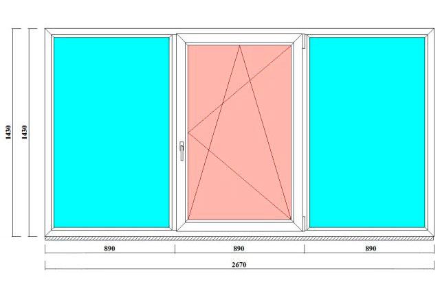 трехстворчатые окна 1430*2670 мм от производителя в спб