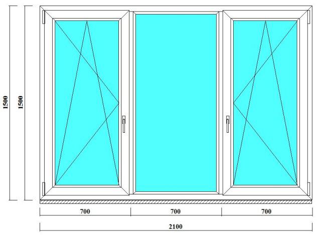 трехстворчатое окно пвх 1500 на 2100 мм от производителя в СПб
