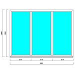 Глухое трехстворчатое окно 1500*2100 мм