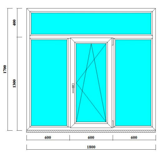 трехстворчатое окно с фрамугой 1700 на 1800 мм
