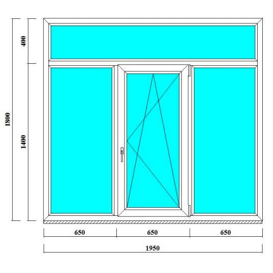 трехстворчатое окно с фрамугой 1800 на 1950 мм - продажа и монтаж в СПб