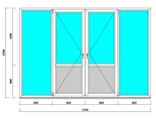 окна и двери для лоджий и веранд 2200 на 3200 мм - продажа и монтаж в СПб и Ленобласти