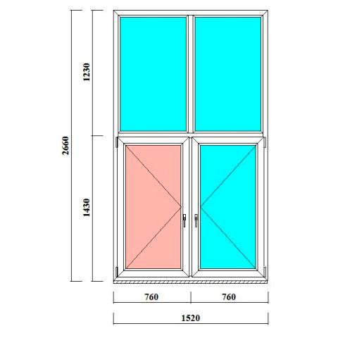 двустворчатое высокое окно с перекладинами 2660 на  1520 мм в СПб