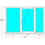 Пластиковое окно 1390х2030 мм с тремя створками