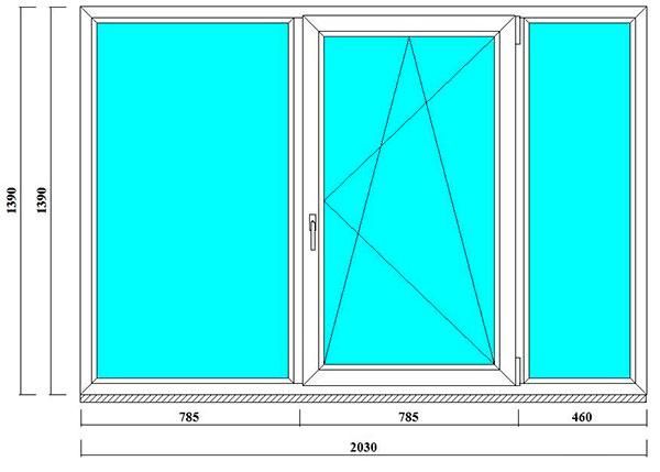 трехстворчатое окно в 504, 505 серию домов