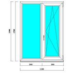 Двустворчатое ПВХ окно 1500 на 1100 мм