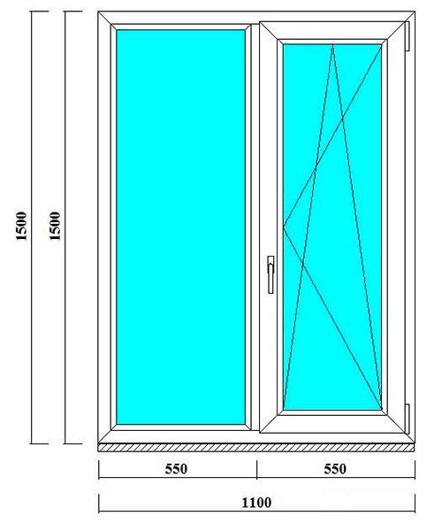 окно пластиковое 1500 на 1100 мм