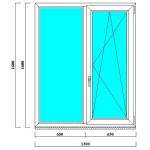 Пластиковое двустворчатое окно 1600*1300 мм