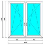 Пластиковые окно 1600 на 1500 мм с двумя створками