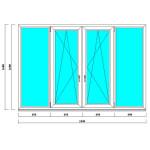 Пластиковое окно 1600*2400 мм на балкон