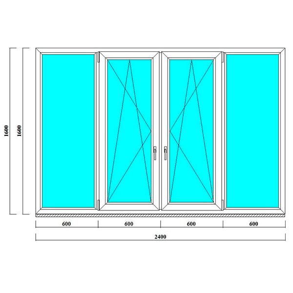 пластиковое окно 1600 на 2400 мм