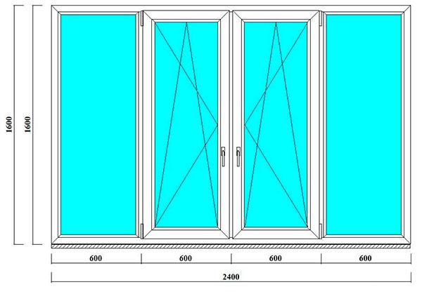 окна 1600 на 2400 мм на балкон в корабль, 504д серию дома