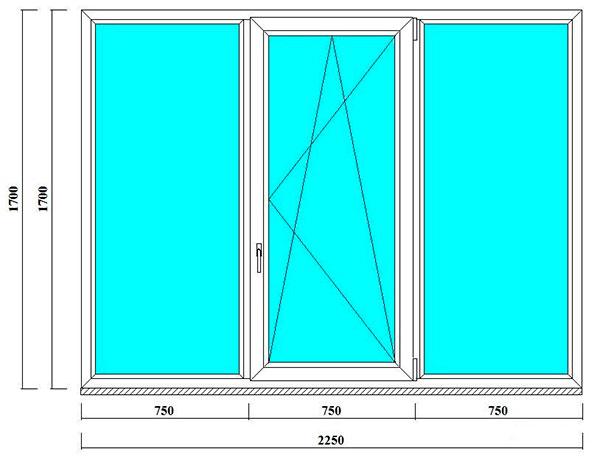 трехстворчатое окно 1700 на 2250 мм в СПб