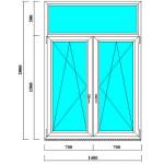 Пластиковое Т-образное окно 2000 на 1400 мм с фрамугой