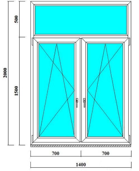 Т-образное двустворчатое окно 2000 на 1400 мм
