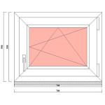 Одностворчатое ПВХ окно 550 на 700 мм