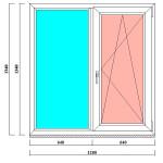 Двустворчатое пластиковое окно 1340х1280 мм