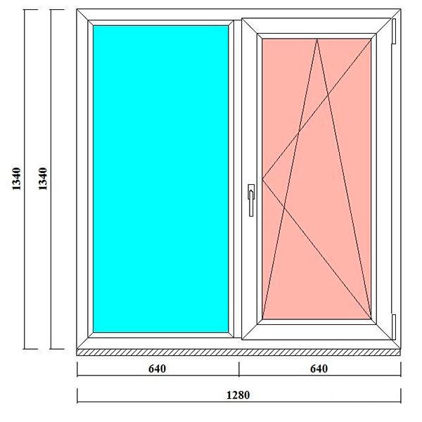 пластиковые окна двустворчатые 1340 на 1280 мм в спб