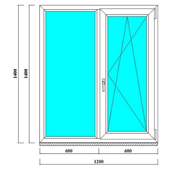 пвх окна 1400 на 1200 мм в СПб