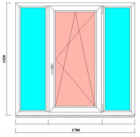 трехстворчатое окно 1420 на 1700 мм в СПб