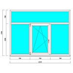 Пластиковое окно 1700 на 2250 мм с фрамугой