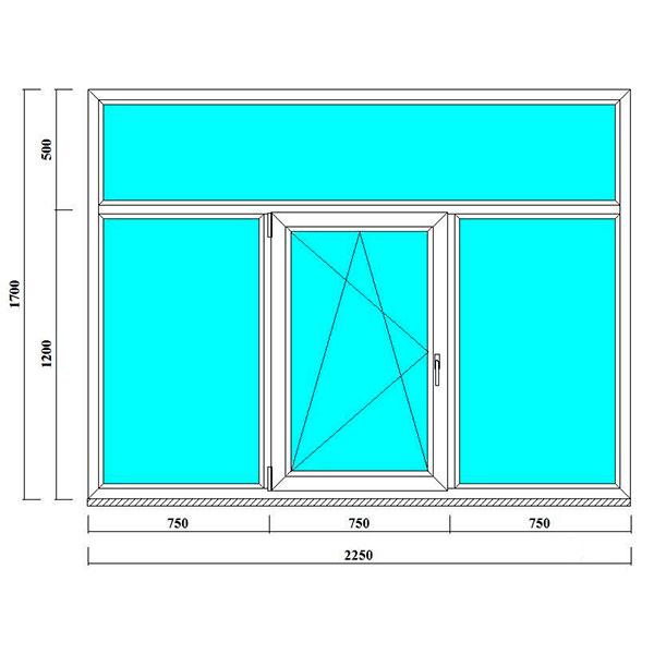пластиковое окно 1700*2250 мм в спб