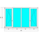 Пластиковое окно 1700*2800 мм для остекления балконов