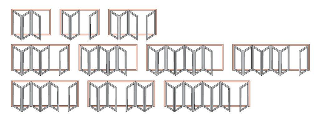 схема для дверей гармошка патио