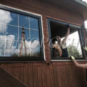 окна со шпросами золотыми изготовление