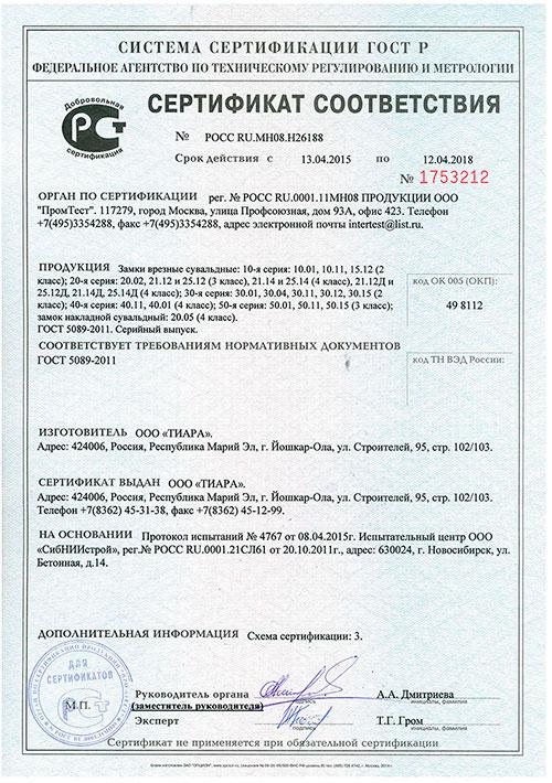 сертификат дверь Гранит М1