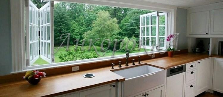 ленточные панорамные окна на кухне фото