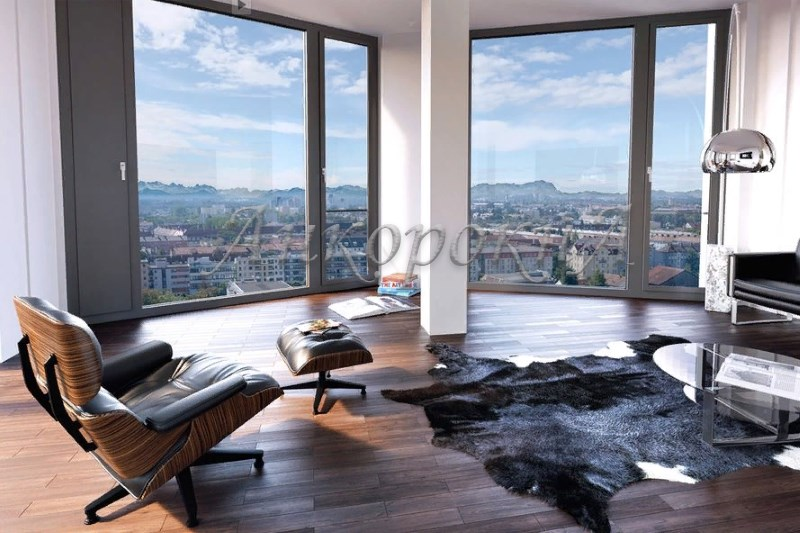 интерьер комнаты с панорамными окнами фото